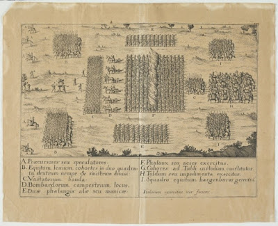 A black ink print on yellowed paper, showing a section of an army from an overhead view. Footsoldiers and horse-mounted fighters are arranged in large organized blocks, with the largest at the center and the rest surrounding. The labeling is in Italian.