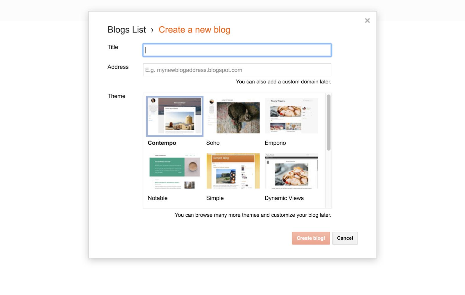 create a blogger account