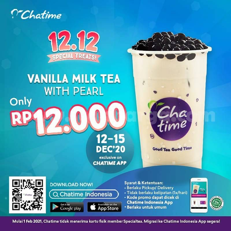 Chatime Promo 12.12 – Vanilla Milk Tea + Pearl harga cuma Rp 12.000,-