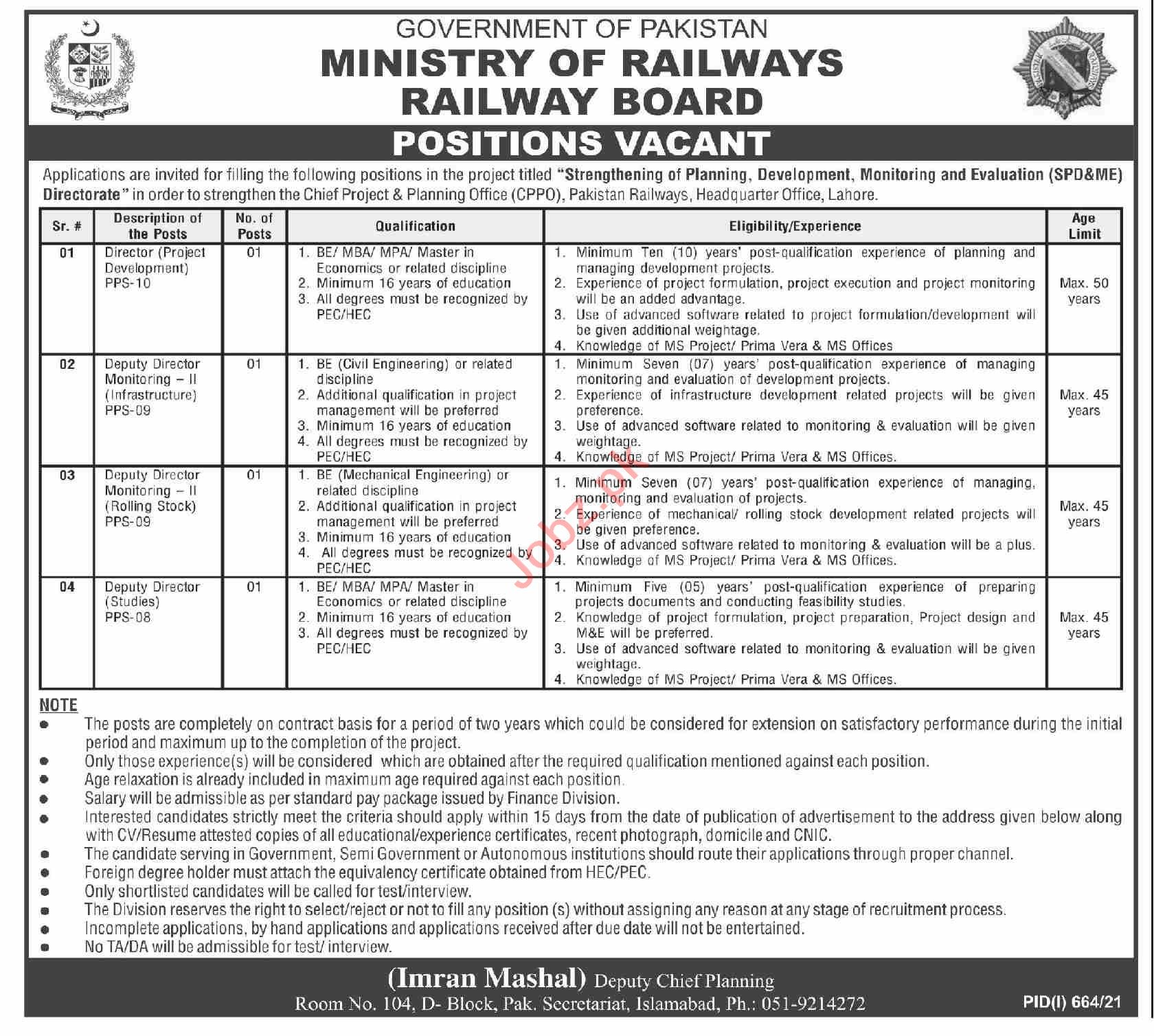 Pakistan Railways Ministry of Railways Islamabad Jobs 2021