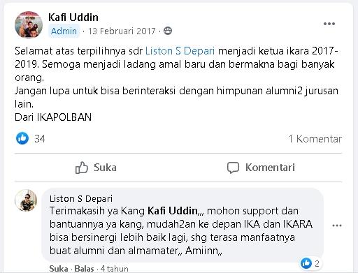 IKAPOLBAN: Selamat atas terpilihnya saudara Liston S Depari menjadiKetua IKARA 2017-2019
