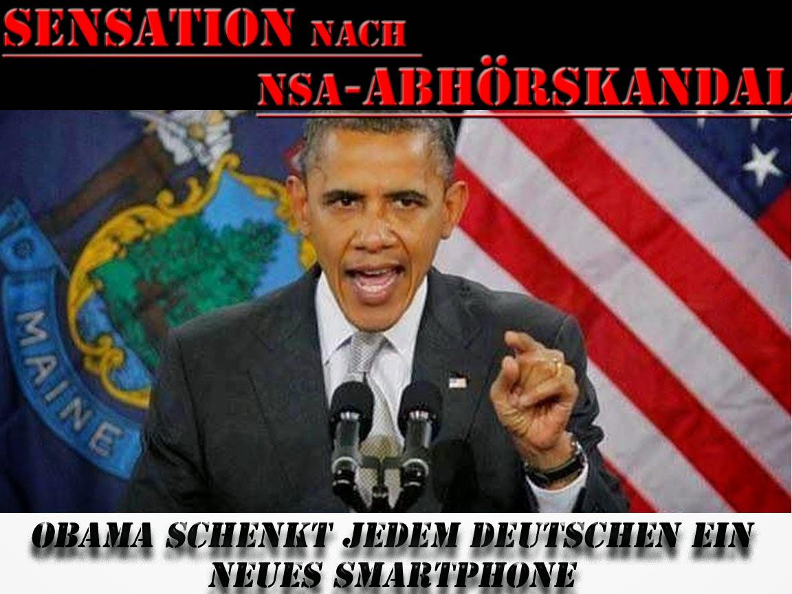 Lustige Satire Obama Abhörskandal Bilder mit Text