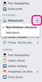 Ustawienia Aktualności - Facebook