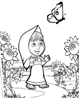 דפי צביעה לילדים בגן מאשה והדב