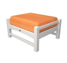 Trex Outdoor Furniture Rockport Club Classic White Ottoman with Tangerine Sunbrella Cushion
