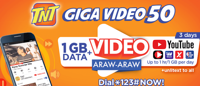 TNT GIGASURF 50: 1GB Data + 1GB Free YouTube and Unli All Net Texts for 3 Days