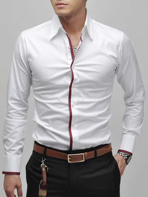 Slimming Lapel Striped Hem Long Sleeve Cotton Blend Casual Shirt For Men - White - M