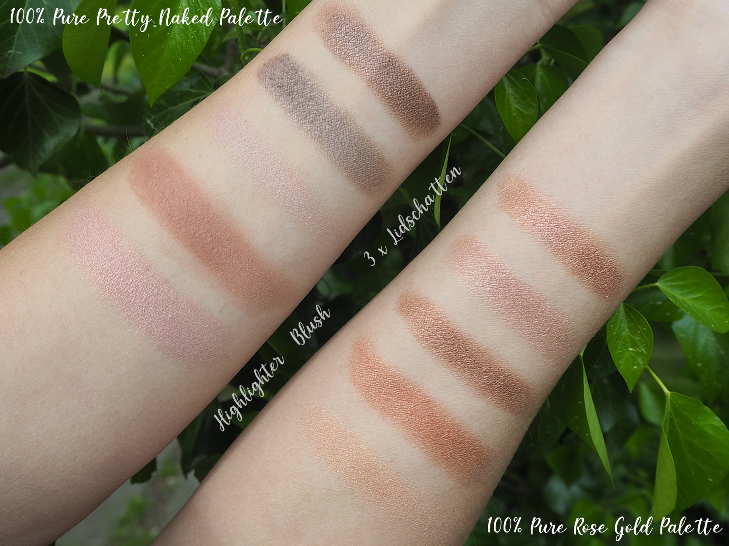 100% Pure Pretty Naked + Rose Gold Swatches