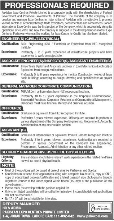 www.pakexcel.com Jobs 2021 - Pakistan Expo Centers Private Limited Jobs 2021 in Pakistan