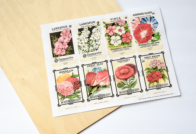 Printable and wood for DIY vintage seed packets