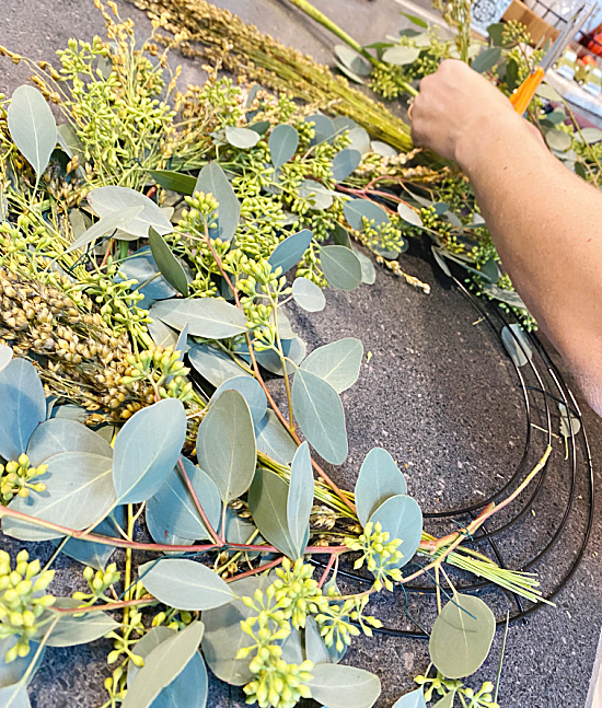 wiring on eucalyptus leaves to a wreath form