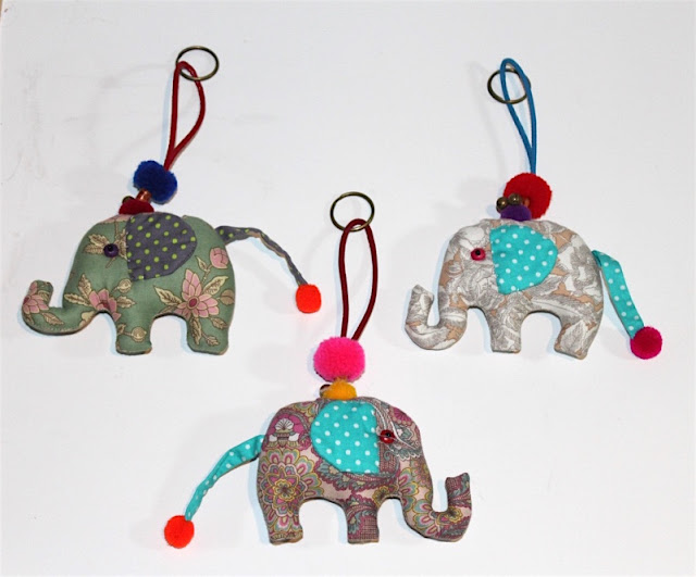Llavero elefantes de telas bonitas