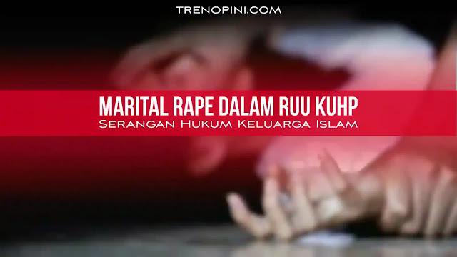 Marital rape adalah istilah yang terus digaungkan oleh mereka yang berasal dari kalangan sekuleris maupun gender. Tujuannya tentu saja untuk menyerang hukum-hukum Islam yang erat kaitannya tentang hak dan kewajiban antara suami istri dan disisi lain ingin melemahkan lembaga perkawinan Islam itu sendiri. Lihat saja, RUU KUHP yang menetapkan suami yang diadukan oleh istrinya karena merasa diperkosa maka akan dihukum maksimal 12 tahun penjara. Jika suami dipenjara, siapa yang akan menanggung nafkah keluarga?siapa yang akan menjaga dan melindungi keluarga. Nah kalau sudah begini, istri-lah yang akan melakukannya sendirian, mulai dari mencari nafkah, mendidik, menjaga dan lain sebagainya. Kalau istri sudah sibuk diluar anak menjadi terlantar, kurang kasih sayang, maka tak heran banyak anak yang terjebak dengan pergaulan bebas, hamil diluar nikah, mencoba-coba barang haram seperti narkoba, sabu-sabu dan lainnya. Tentu saja hal ini disebabkan karena kurangnya kontrol dari orangtuannya. Yang akhirnya, ketahanan keluarga lama kelamaan menjadi hancur. Generasi muda yang diharapkan sebagai tonggak perubahan rusak karena ketahanan keluarganya pun juga rusak.