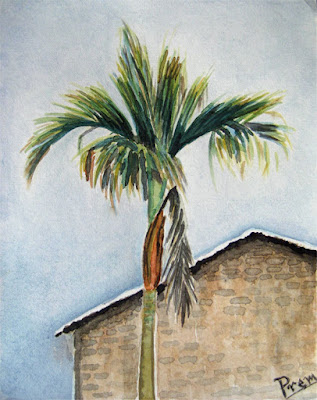Watercolor Painting of a Palm Tree