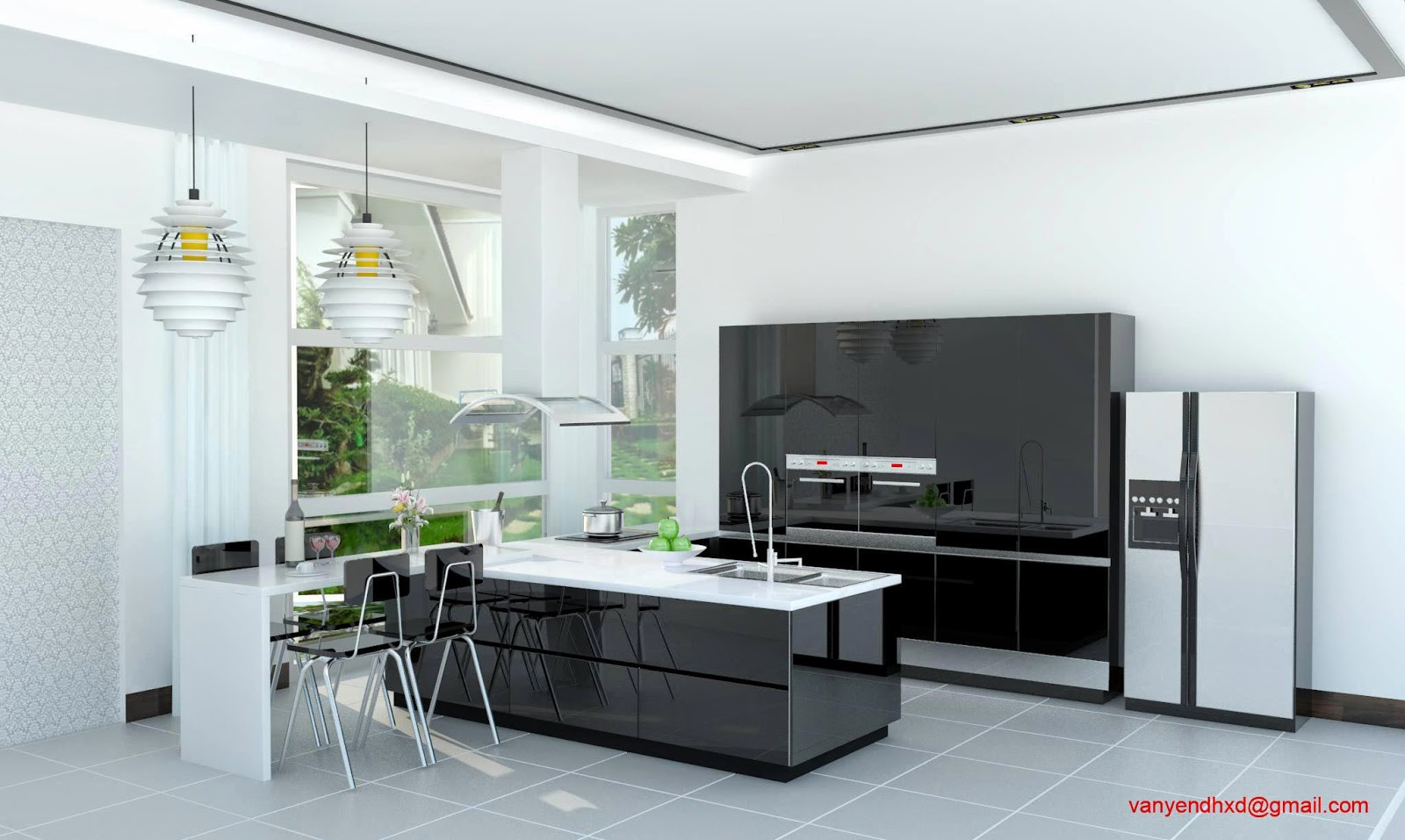 Modern Black Kitchen Cabinets Black Counter Top