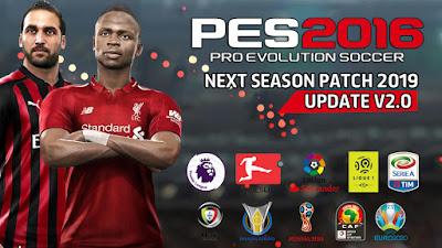 PES 2016 Next Season Patch 2019 + Update 2.0 Season 2018/2019