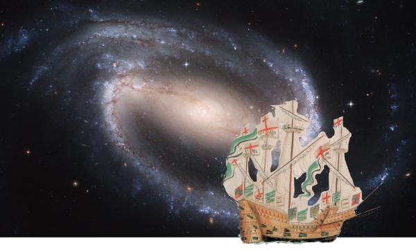Galaxie, Weltall, historisches Segelschiff, Anthony Roll, Collage, Vergangenheit, Zukunft, Kosmos, Weite