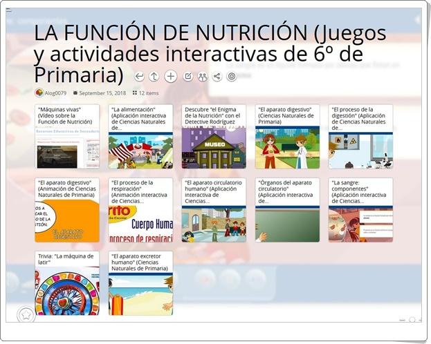 """""""12 Juegos y actividades interactivas para el estudio de LA FUNCIÓN DE NUTRICIÓN en 6º de Primaria"""""""
