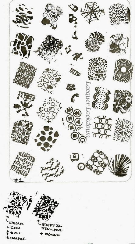 Lacquer Lockdown - Cici & Sisi Nail Art Stamping Plates, Cici & Sisi nail art plates, Cici and Sisi, Cici & Sisi, stamping, nail art, new plates 2014, new stamping plates 2014, new nail art plates 2014, bundle monster, konad, moyou london, stamping, stamping nail art, nail art, easy nail art, cute nail art ideas, cute nail art, jumbo stamping plates, jumbo nail art plates, stamping plate review, nail art plate review, Cici & Sisi review, nails, nail ideas