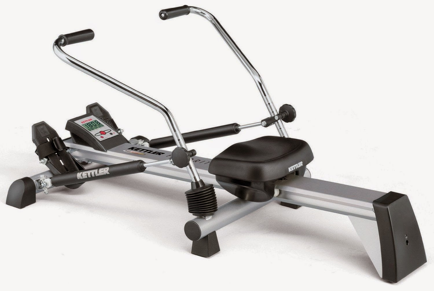 Kettler Favorit Rowing Machine, review, offer circular rowing motion with 2 hydraulic cylinders to control resistance, padded seat, smooth gliding action, compare with Kettler Kadett