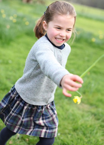 Princess Charlotte wore Amaia Kids Yarrow tartan skirt, Hampton canvas shoe