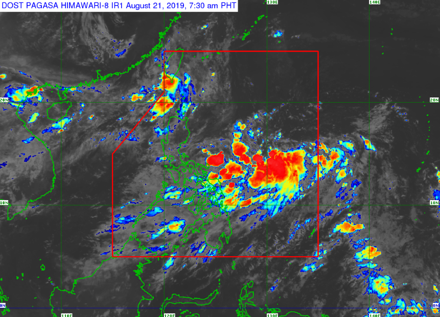 Satellite image of Tropical Depression 'Ineng' as of 7:30 am on Wednesday, August 21