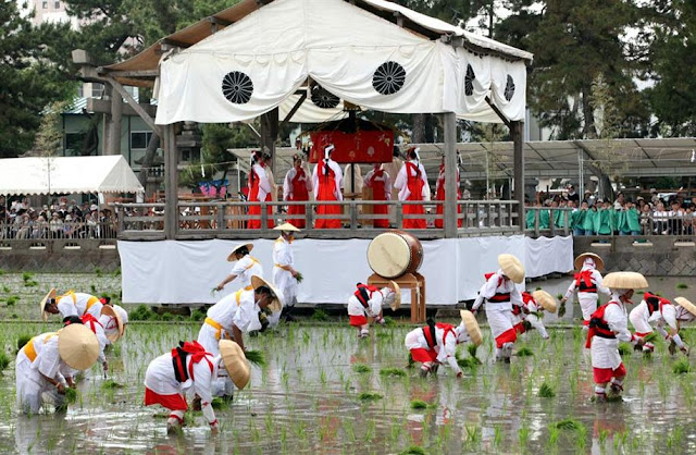 Otaue Shinji (Rice Planting Festival) at the Sumiyoshi Shrine in Osaka