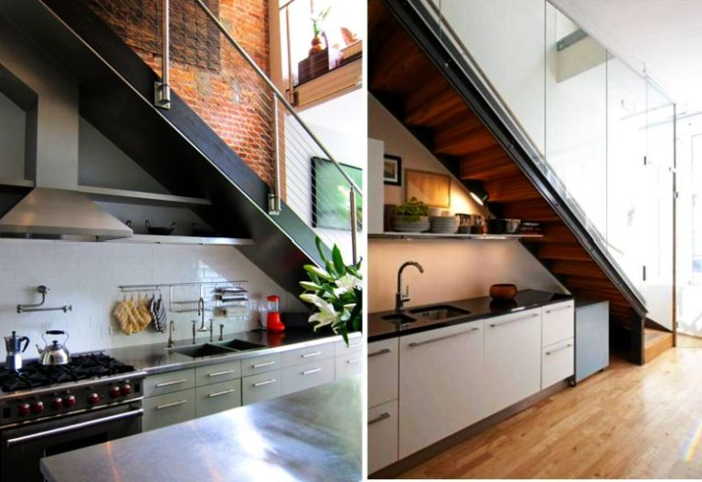 1. Kitchen under the stairs with open shelves