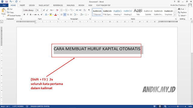 microsoft office, microsoft word, microsoft word 2013, tutorial, membuat huruf besar, huruf capital, lowercase, uppercase