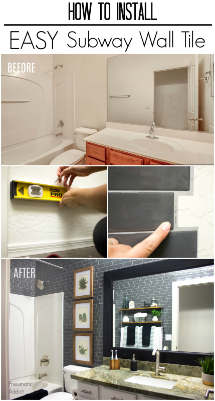 easy peel and stick modern gray subway tile bathroom makeover video how to