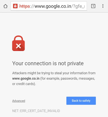 Google Error: Your Connection Is Not Private