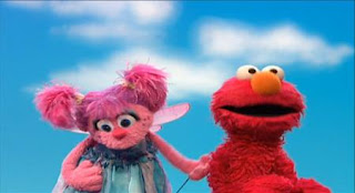 Abby and Elmo pretend to drive cars. Sesame Street Elmo's Travel Songs and Games