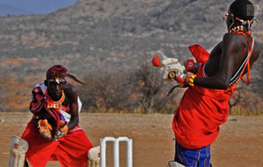 Maasai playing good cricket in Laikipia Kenya