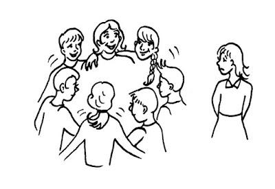 Descrição da imagem #PraCegoVer: Um desenho em preto e branco de uma roda de amigos abraçados e contentes, à esquerda de uma moça triste por estar excluída dessa roda. Fim da descrição.