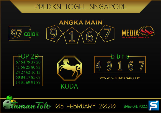 Prediksi Togel SINGAPORE TAMAN TOTO 05 FEBRUARY 2020
