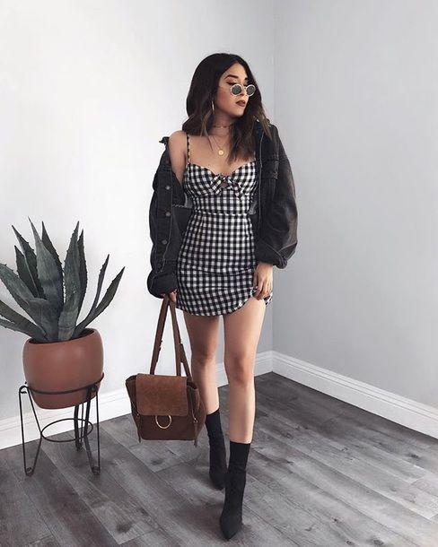 vestido a cuadros outfit