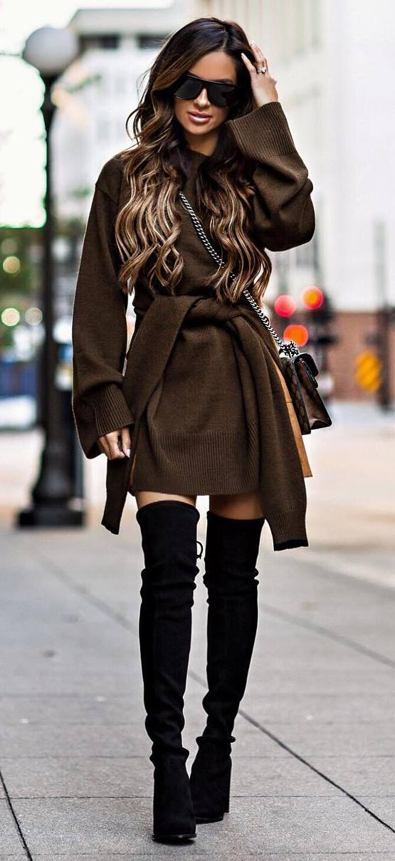 beautiful winter outfit / brown sweater dress + bag + black over the knee boots