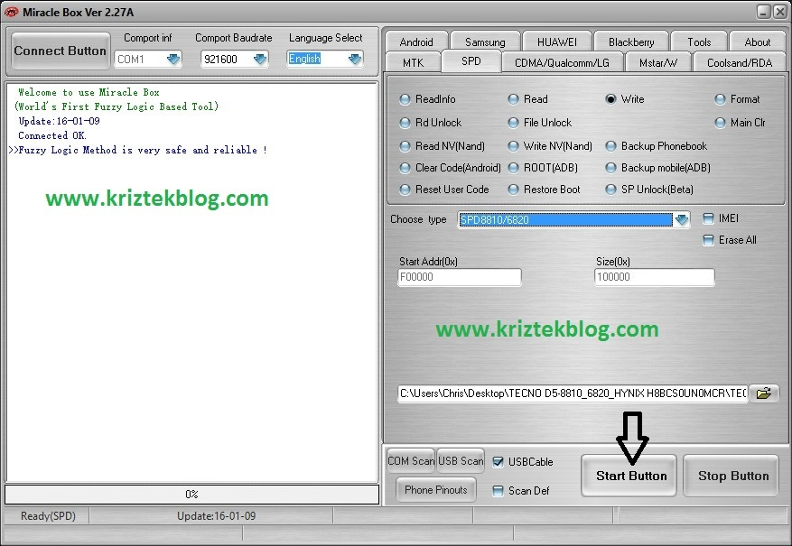 Flash bin files to spreadtrum devices click on start button