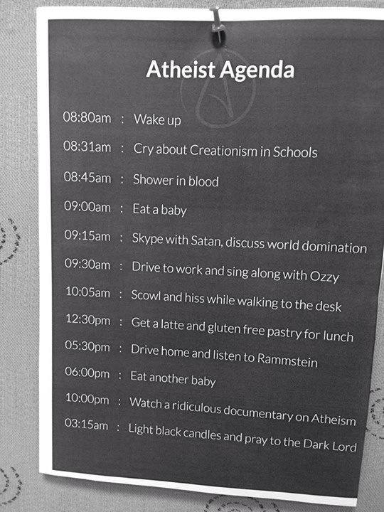 Atheist Agenda List Picture