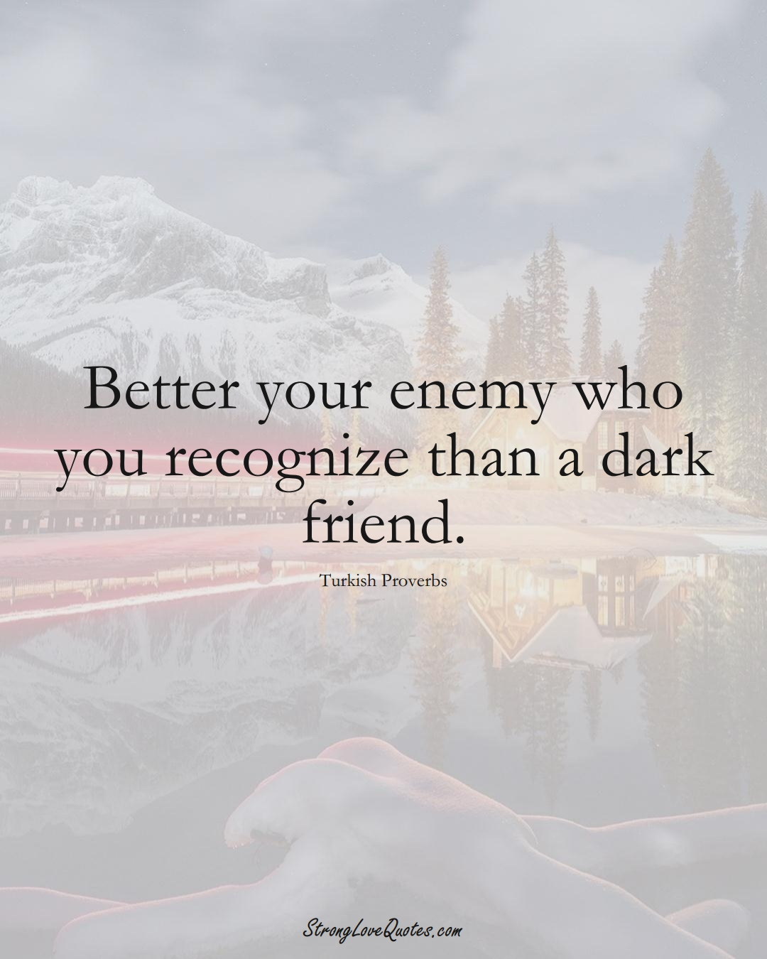 Better your enemy who you recognize than a dark friend. (Turkish Sayings);  #MiddleEasternSayings