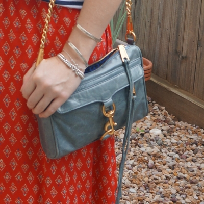 red printed maxi skirt, Rebecca Minkoff 2012 sky grey mini MAC bag | awayfromtheblue
