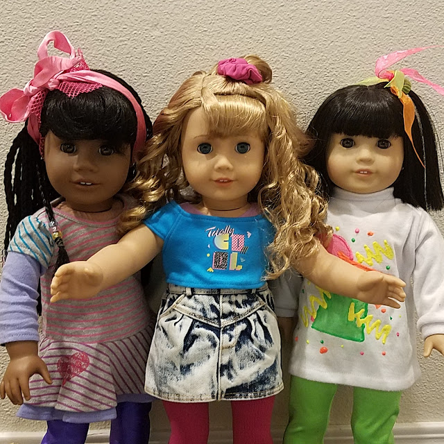 Image of my three 1980s characters. L to R: Tyanna Lewis, Courtney Moore, and Kimmy Kim.