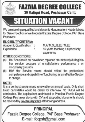 Jobs in Fazaia Degree College 2019 Vacancies