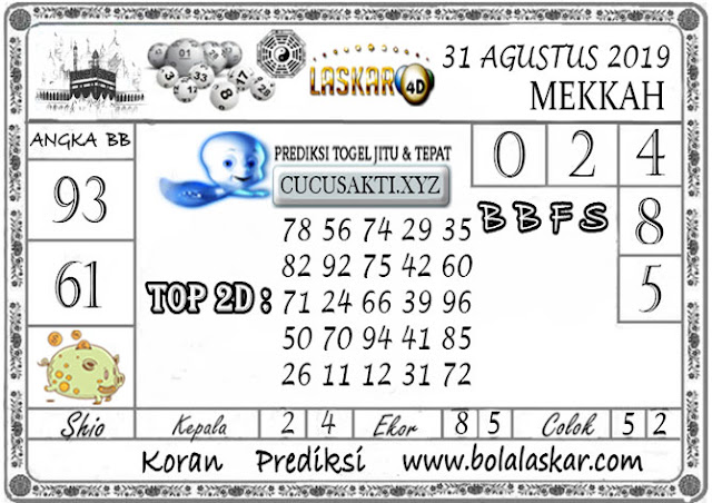 Prediksi Togel MEKKAH LASKAR4D 31 AGUSTUS 2019