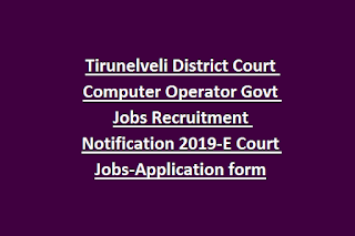 Tirunelveli District Court Computer Operator Govt Jobs Recruitment Notification 2019-E Court Jobs-Application form
