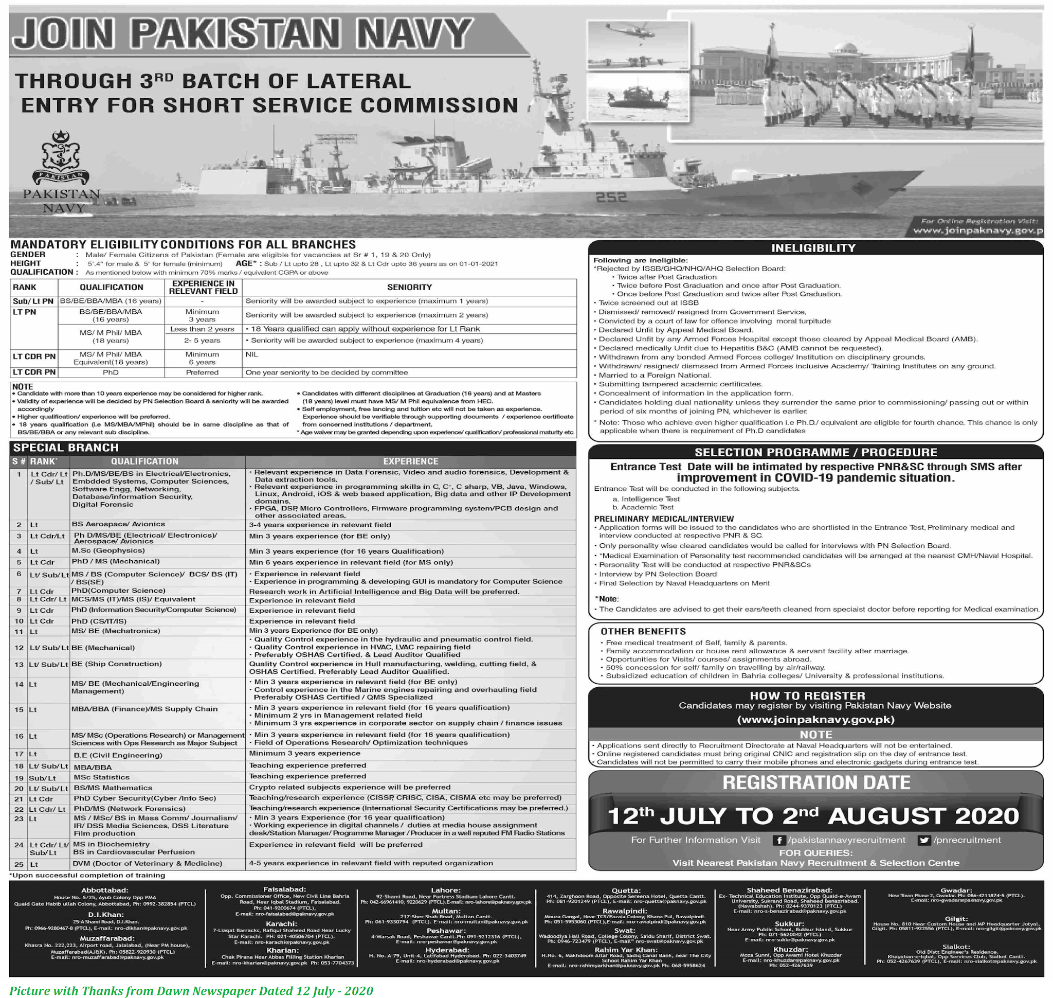 Join Pakistan Navy 2020 - 3rd Batch Entry Short Service Commission Course 2020 Pak Navy Jobs 2020 Online Registration