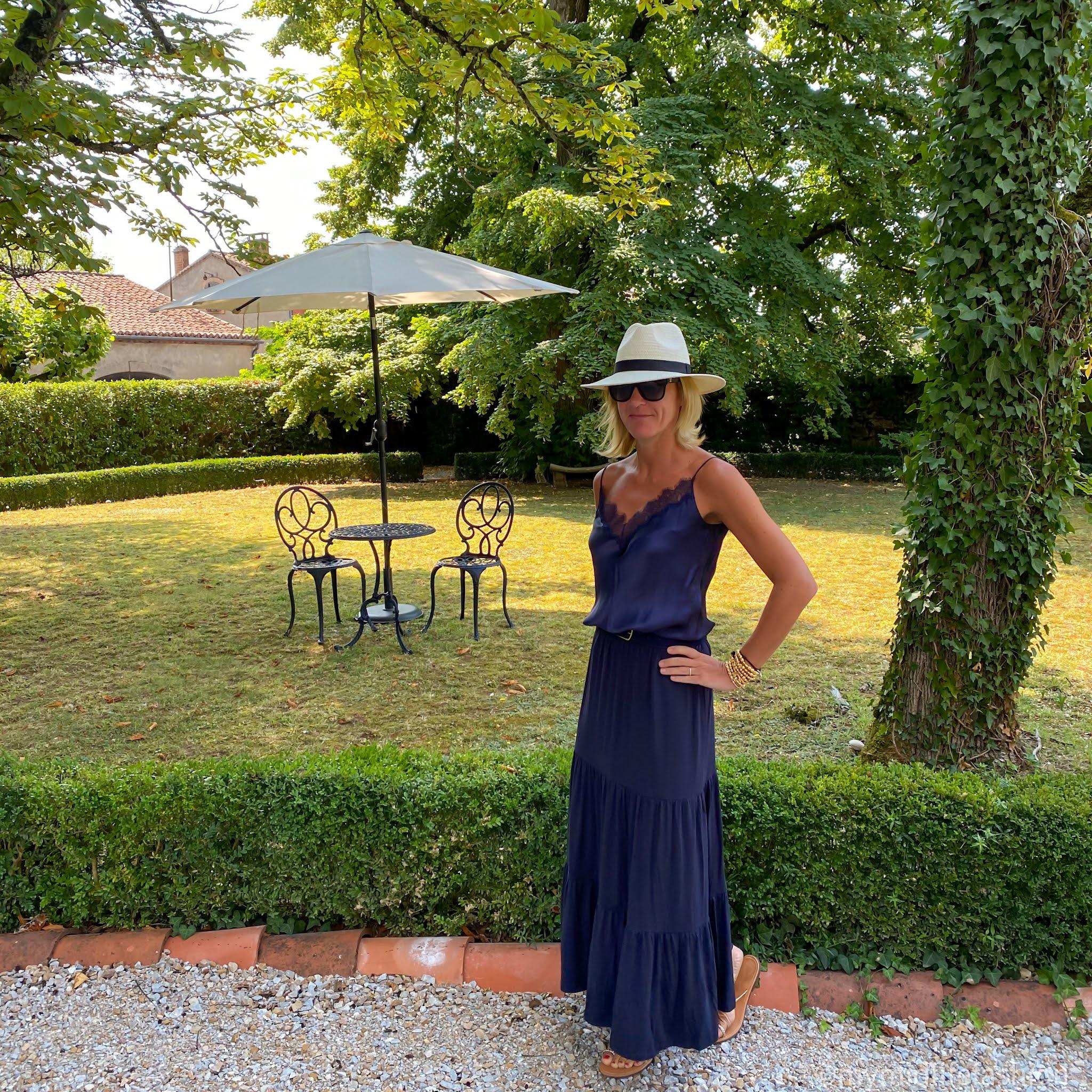 my midlife fashion, saint and Sofia greenwich skirt, Massimo Dutti lace trim silk camisole, speak out Chris braided gold sandals, j crew leather belt, Zara Panama hat