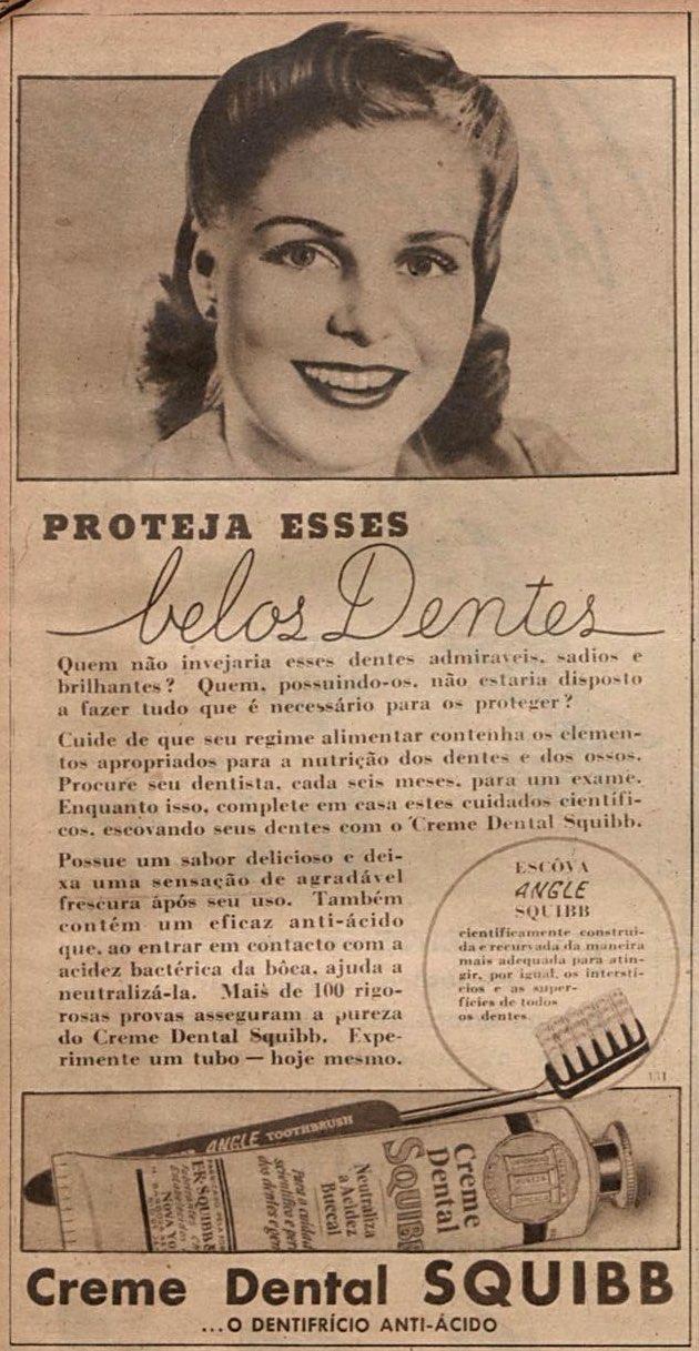 Propaganda antiga do creme dental Squibb veiculada em 1942