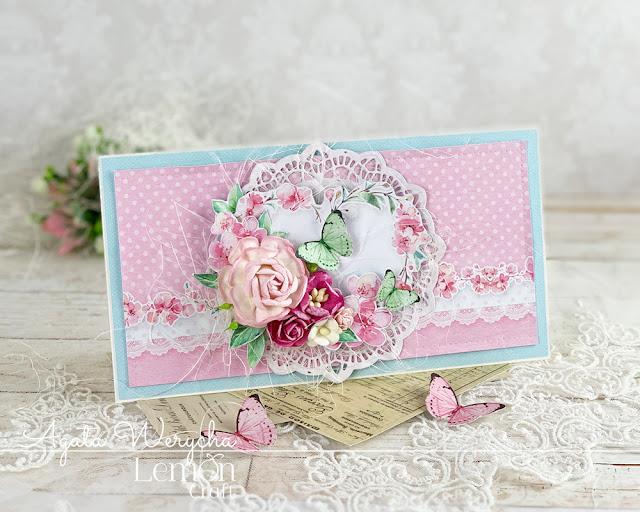 Różowa kartka ręcznie robiona - idealny upominek dla kobiety