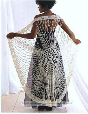 Elegante chal a crochet